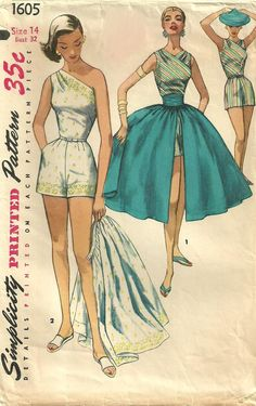 Simplicity 1605 sewing pattern for playsuit / romper, and skirt. 1950s