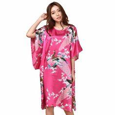 Summer Hot Pink Sexy Silk Rayon Home Dress Women Summer Nightdress Sleepshirt Robe Gown Kimono Bathrobe Plus Size Lace Kimono, Sleepwear Women, Women's Sleepwear, Sleep Shirt, Summer Dresses For Women, Night Gown, Sexy Women, Cold Shoulder Dress, Gowns