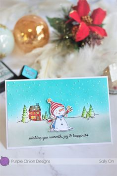 Sally On - Neve and Bianca warm wishes Holiday Sales, Holiday Decor, Christmas Bulbs, Christmas Cards, Snowman Cards, Joy And Happiness, Sally, Card Making, Sketches