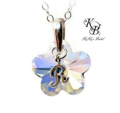 Flower Girl Necklace, Personalized Flower Girl Gift, Wedding Jewelry, Flower Girl Jewelry, Gift For Flower Girl, Crystal Flower Necklace