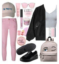 """how to wear pink pants"" by evedoll ❤ liked on Polyvore featuring Deborah Lippmann, MICHAEL Michael Kors, Alexander Wang, Puma, Karen Walker, NARS Cosmetics, Lancôme, Clinique, Cloud 9 and Eos"