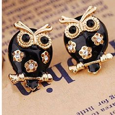 Bele Fashion Bohemia Style Cubic Charming Rhinestone Owl Plug Stud Earring Women Jewelry ** Be sure to check out this awesome product. Note:It is Affiliate Link to Amazon.