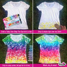 Rainbow-Drip Tie Dye Shirt, have a party and invite teens and their friends to make these easy shirts. Diy Tie Dye Shirts, T Shirt Diy, Dye T Shirt, How To Tie Dye, How To Wear, Tie Dye Party, Tie Dye Kit, Tie Dye Crafts, Tie Dye Techniques