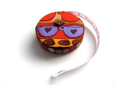 Coffee Lovers Fabric Covered Pocket Tapemeasure by AllAboutTheButtons, $7.75 USD