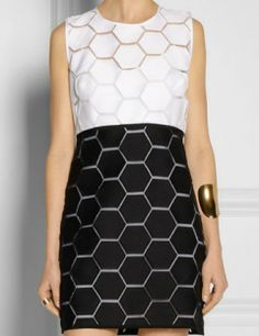 MILLY Hexagon-Patterned Cotton and Silk-Blend Dress