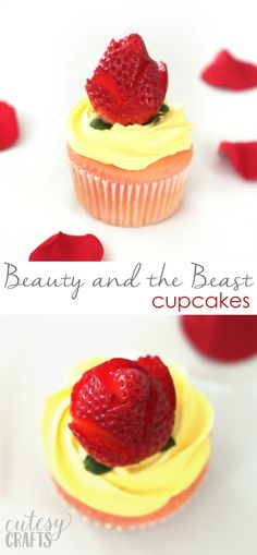 Beauty and the Beast Cupcakes with Strawberry Roses