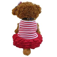 Dog Dress HP95TM Pet Dog Fashion Apparel Pet Dog Stripe Tshirt Skirt Puppy Princess DressXS Red >>> You can find out more details at the link of the image.