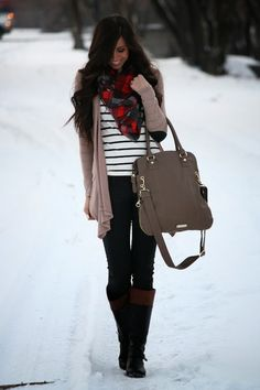 Stripes and Plaid go together in this cute Fall outfit just for you.