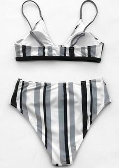 This incredible bikini features a high waist with adjustable over the shoulder straps for superior comfort and support. It also features a high cut cheeky bottom with a low cut U-neck for ultimate sex appeal. Grey Bikini Set, Nylons, Bikini Noir, Bra Size Charts, Amazon Clothes, Strap Bikini, Bikini Swimsuit, Bikini For Women, Black White Stripes