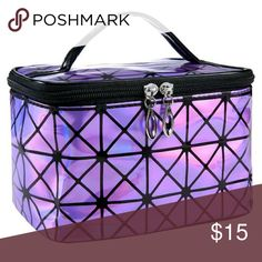 Holographic makeup pouch purse storage bag, Pick 1 Silver,Purple,Blue, Pick 1 color Bags Travel Bags