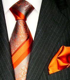 LORENZO CANA Luxury Italian Pure Silk Woven Tie Hanky Set Orange Silver Beige Stripes 4207601