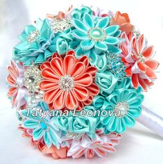 Fabric Wedding Bouquet Brooch bouquet turquoise coral and by LIKKO