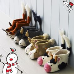 These adorable felt animal slippers are lovingly hand made under the Nepalese sun with Tibetan lambs wool. Perfect for your little animals! Buy from Graham & Green