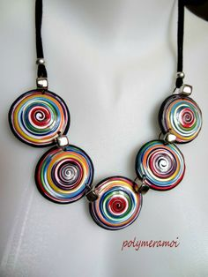 spiraled flat beads necklace