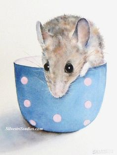 My mouse in cup watercolor is available as a cute art print and greeting cards. Woodland animal prints are perfect for wildlife art lovers, in addition to nursery decor and wall art! To view more animal art by Teresa Silvestri, visit www.SilvestriStudios.com