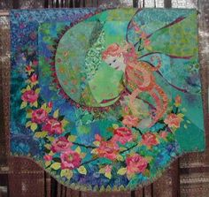 """It is by Mary Transom, from New Zealand, and is called """"Memories of Roses."""" It is machine pieced, machine appliqued and machine quilted."""