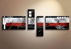 Canvas Art, Large Abstract Art, Oil Painting, Black and Red Canvas Painting, Painting for Sale - Grace Painting Crafts