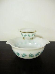 Floral GLASBAKE Glass CHIP & DIP Bowl Set~~