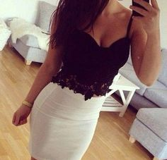 Summer Outfit - Pencil Skirt - Lace Crop Top
