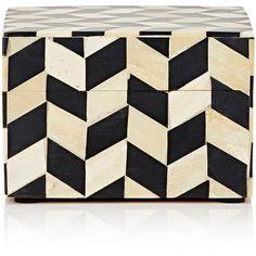 Mela Artisans Herringbone Decorative Small Square Box (£30) ❤ liked on Polyvore featuring home, home decor, small item storage, black, handmade boxes, handmade home decor, square box, black home decor and black box