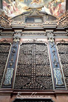 Milan, Italy ossuary chapel of San Bernardino alle Ossa (detail)  Detail of one of the side walls.
