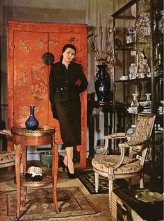 1949 Alla in wool suit, jacket is belted with double layered lapels, by Christian Dior