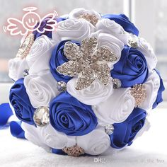 Elegant Customized Bridal Wedding Bouquet Crystal Pearl Beaded Brooch and Silk Roses Romantic Wedding Colorful Bride 's Bouquet Rose flowers