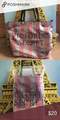 A Victoria secret bag/tote Pink and silver striped sequence with black sequence used for the letters Victoria's Secret Bags Totes
