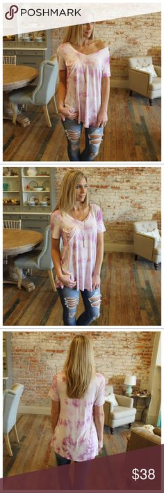 """Lilac stone wash slouch pocket boyfriend tee Modeling size small.  94%rayon 6% spandex.  Bust laying flat: S 18"""" M 19"""" L 20"""" Length S 30"""" M 31"""" L 32"""".  Add to bundle to save when purchasing. IR11500112.11154 Infinity Raine Tops"""