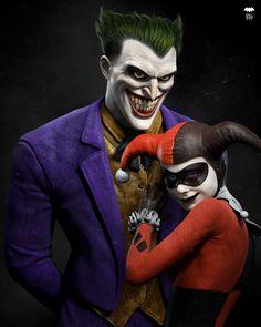 The Joker and Harley Quinn Batman Comic Art, Joker Art, Marvel Dc Comics, Batman Robin, Batman Arkham City, Gotham City, Joker Dark Knight, Comic Villains, Batman The Animated Series