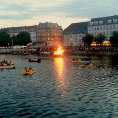 Celebrating Sankt Hans evening on the water in Copenhagen.  Midsummer's celebration.