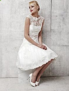 Satin and Lace Knee Length Wedding Dress Sheer Bateau Neckline