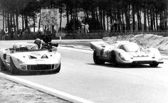 """Ford GT40 hacked up to be used as a camera car for """"Le Mans""""."""