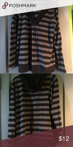 Black and gray striped Motherhood maternity shirt Another motherhood maternity shirt, I believe it's a size L but the size has washed off 🙄 super soft and stretchy and can be worn without being pregnant! Great condition, smoke free home, make me an offer! Don't forget to bundle! Motherhood Maternity Tops Tees - Long Sleeve