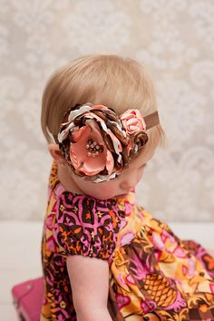 satin flower baby headband coral and brown couture by verosjoy, $19.00