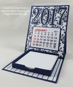 Make a pretty 2017 mini desk calendar with Floral Boutique Designer Series Paper and Night of Navy card stock from Stampin' Up!  You'll find more ideas and instructions on my blog.