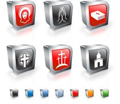 Christianity 3D royalty free vector icon set vector art illustration