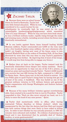 100+ Facts About US Presidents 12- Zachary Taylor