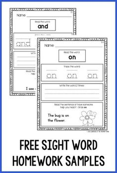 Kindergarten Homework That Works for ALL Kids Help students practice sight words at home with these predictable, engaging sight word homework sheets!Help students practice sight words at home with these predictable, engaging sight word homework sheets! Preschool Sight Words, Teaching Sight Words, Sight Word Practice, Sight Word Activities, Word Games, Kindergarten Homework, Kindergarten Learning, Kids Learning Activities, Kindergarten Worksheets