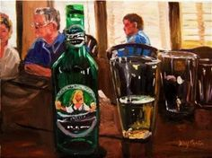 Bottle and glasses-cafe /restaurant scene, painting by artist Kay Crain