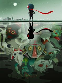 """by Joey Chou  """"Here's a Kamen Rider piece I did few years back for Q pop shop."""""""
