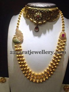 Gold Beads Set with Peacock Motif | Jewellery Designs