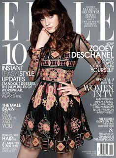 Zooey Deschanel en la portada de ELLE
