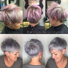 ✌️out faded pink, hello steel lavender. Toned with the @wellahair #wellainstamatics. #nothingbutpixies #btconeshot_color16 #btconeshot_haircolor16 #btconeshot_transformations16 #pixiecut #lavenderpixie #modernsalon #americansalon #behindthechair #cosmoprofbeauty #olaplex #emilyandersonstyling