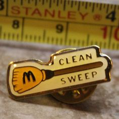 McDonalds Clean Sweep White Broom Collectible Pinback Pin Button #McDonalds