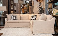 The Alexander Sectional has a true linen blend slip cover! This is perfect for families with kids!