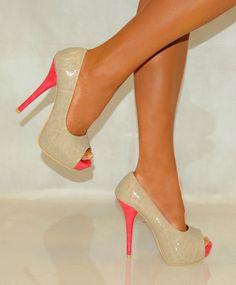 Cream Beige Coral Pink Peep Toes Patent Platform High Heels