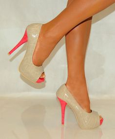 Ladies Cream Beige Coral Pink Peep Toes Patent Platform High Heels Shoes 3 8 | eBay