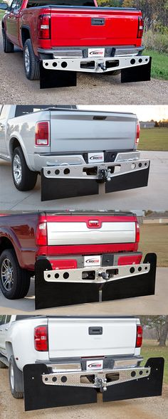 ROCKSTAR™ Hitch Mounted Mud Flaps are offered in four sizes to help drivers protect campers, boats and trailers from damage from rocks and road debris. They mount to the hitch with no drilling required and you only need to pull the hitch pin to remove the mud flaps.