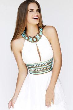 2015 Tarde clásico vestido de una línea larga de gasa vestido de noche blanco sin espalda rebordear vestidos de noche por encargo